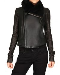 Rick Owens | Black Shearling Biker Leather Jacket | Lyst