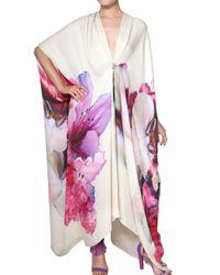 Roberto Cavalli | Pink Flower Print Silk Chiffon Kaftan Dress | Lyst