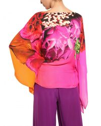 Roberto Cavalli - Multicolor Flower Print Silk Chiffon Shirt - Lyst