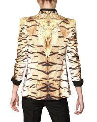 Roberto Cavalli - Multicolor Tiger Print Silk Twill Jacket - Lyst