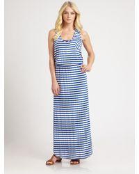 Shoshanna | Blue Striped Jersey Maxi Dress | Lyst