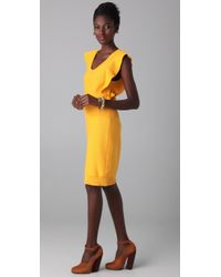 Sonia Rykiel | Metallic Ruffle Sleeve Sweater Dress | Lyst