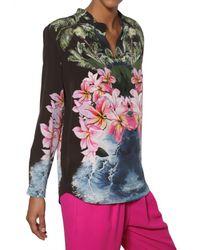 Stella McCartney - Black Hibiscus Print Silk Crepe De Chine Shirt - Lyst