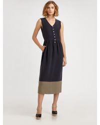 Steven Alan | Blue Doyle Linen and Silk Dress | Lyst