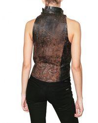 Trosman | Brown Destroyed Leather Vest | Lyst