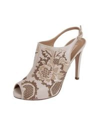 Valentino - White Laser Cut Lace Bootie Slingback - Lyst