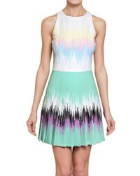 Versus - Multicolor Printed Pleated Cady Stretch Dress - Lyst