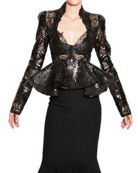 Alexander McQueen | Black Lasercut Patent Leather and Lace Jacket | Lyst