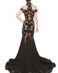 Alexander McQueen | Black Lace Viscose On Georgette Dress | Lyst