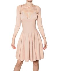 Alexander McQueen - Natural Lace Insert Viscose Knit Dress - Lyst