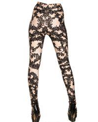 Alexander McQueen - Pink Printed Lace Lycra Leggings - Lyst