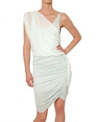 Alice + Olivia | White Draped Chiffon and Gathered Jersey Dress | Lyst