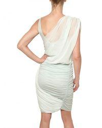 Alice + Olivia - White Draped Chiffon and Gathered Jersey Dress - Lyst