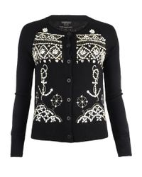 AllSaints - Black Pearly Queen Cardigan - Lyst