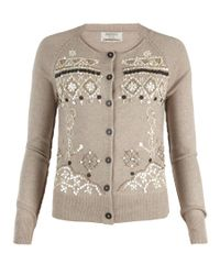 AllSaints | Natural Pearly Queen Cardigan | Lyst