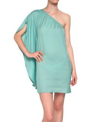 American Retro | Green One Shoulder Satin Dress | Lyst