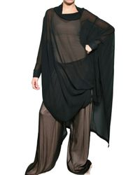 Ann Demeulemeester | Black Silk Chiffon Cape Coat | Lyst
