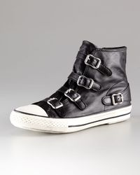 Ash - Black Leather Hi-top Sneaker - Lyst