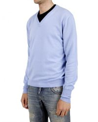 Ballantyne | Blue V-neck Cashmere Knit Sweater for Men | Lyst