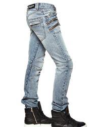 Balmain - Blue 18cm Multi Zip Denim Jeans for Men - Lyst