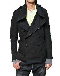 Balmain - Black Cotton Canvas Caban Biker Coat for Men - Lyst