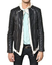 Balmain | Black Goatskin Biker Leather Jacket for Men | Lyst