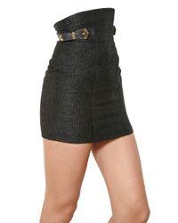 Balmain - Black High Waisted Raffia Skirt - Lyst