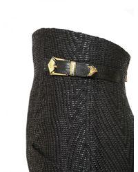 Balmain | Black High Waisted Raffia Skirt | Lyst