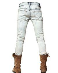 Balmain - Blue 17cm Tie-dye Bleached Denim Jeans for Men - Lyst