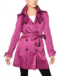 Burberry | Purple Wilmont Washed Viscose Satin Trench Coat | Lyst