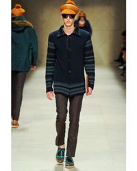 Burberry Prorsum - Blue Raffia Collar Cotton Crochet Knit Coat for Men - Lyst