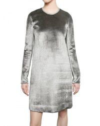 Calvin Klein | Gray Metal Trim Viscose Silk & Velvet Dress | Lyst