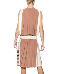 Chloé - Multicolor Pleated Silk Crepe De Chine Dress - Lyst