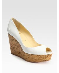 Christian Louboutin | Natural Patent Leather Cork Wedge Pumps | Lyst