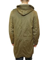 Closed - Green Distressed Gabardine Eskimo Coat for Men - Lyst