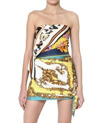 Dolce & Gabbana | Multicolor Denim Back and Printed Silk Dress | Lyst