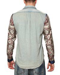Dolce & Gabbana | Multicolor Denim Silk Sleeves Shirt for Men | Lyst