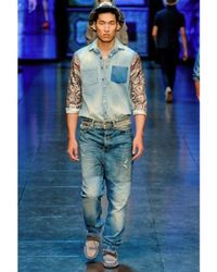 Dolce & Gabbana | Multicolor Denim Silk Sleeves Shirt for Men | Lyst