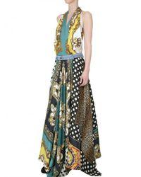 Dolce & Gabbana | Multicolor Vintage Print Satin Foulard Long Dress | Lyst