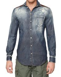 Dolce & Gabbana - Multicolor Washed Denim & Silk Shirt for Men - Lyst