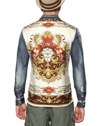 Dolce & Gabbana | Multicolor Washed Denim & Silk Shirt for Men | Lyst