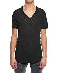 Dior Homme | Black See Through Striped Jersey T-shirt for Men | Lyst