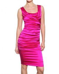 Dolce & Gabbana | Purple Stretch Silk Satin Dress | Lyst
