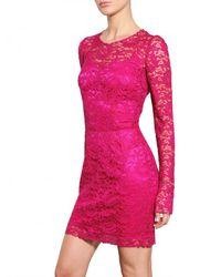 Dolce & Gabbana - Pink Viscose Lace Dress - Lyst