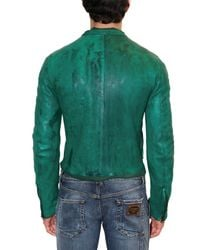 Dolce & Gabbana - Green Dyed Washed Nappa Leather Jacket for Men - Lyst