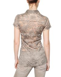 Dolce & Gabbana | Gray Transparent Viscose Lace Shirt | Lyst