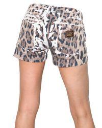 Dolce & Gabbana | Multicolor Leopard Print Denim Shorts | Lyst