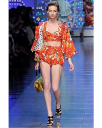 Dolce & Gabbana   Multicolor Jewelled Tomato Print Brocade Bra   Lyst