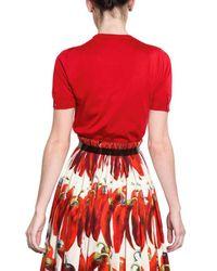 Dolce & Gabbana | Red Silk Knit Top | Lyst