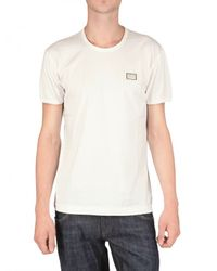 Dolce & Gabbana | White Logo Metal Plaque Melange Jersey T-shirt for Men | Lyst